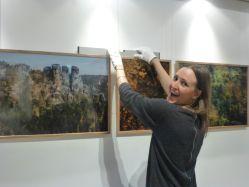 Harriet Clare installing her work